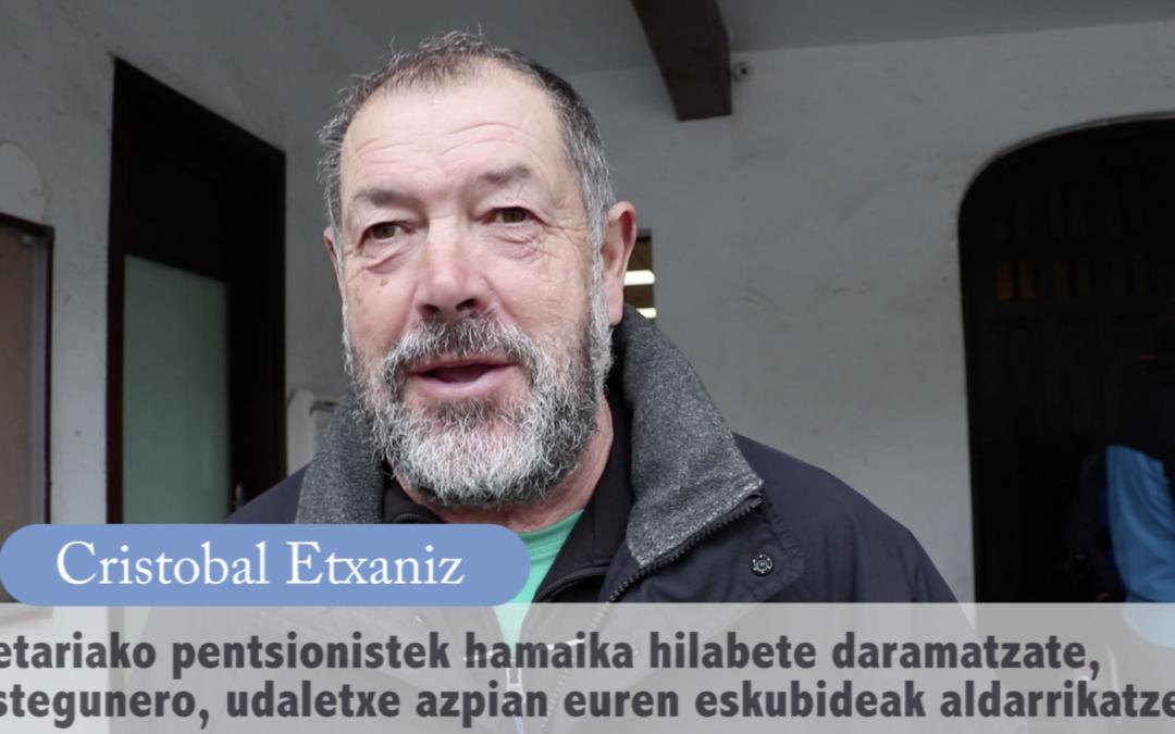 """Cristobal  Etxaniz  (bideoa):  """"Pentsatzen  det  hauteskundeak  egin  arte  jarraituko  dala"""""""