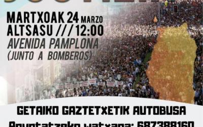 Getariatik  Altsasuko  manifestaziora  joateko  autobus  zerbitzua  jarri  dute