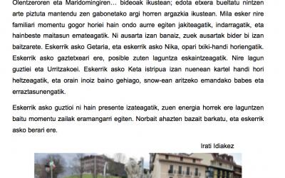 """Irati Idiakez: """"Eskerrik asko Getariari"""""""