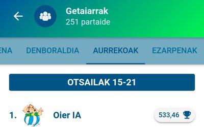"""Oier IAk marka berria jarri du """"Getaiarrak"""" taldean"""